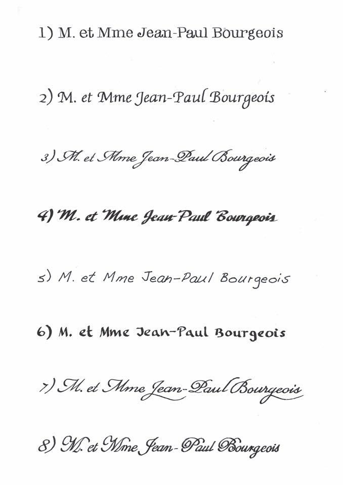 8 différentes calligraphies