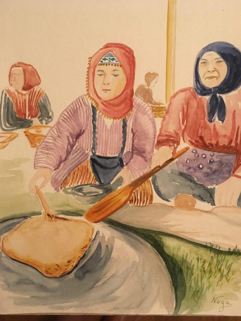 Des femmes turques faisant du pain
