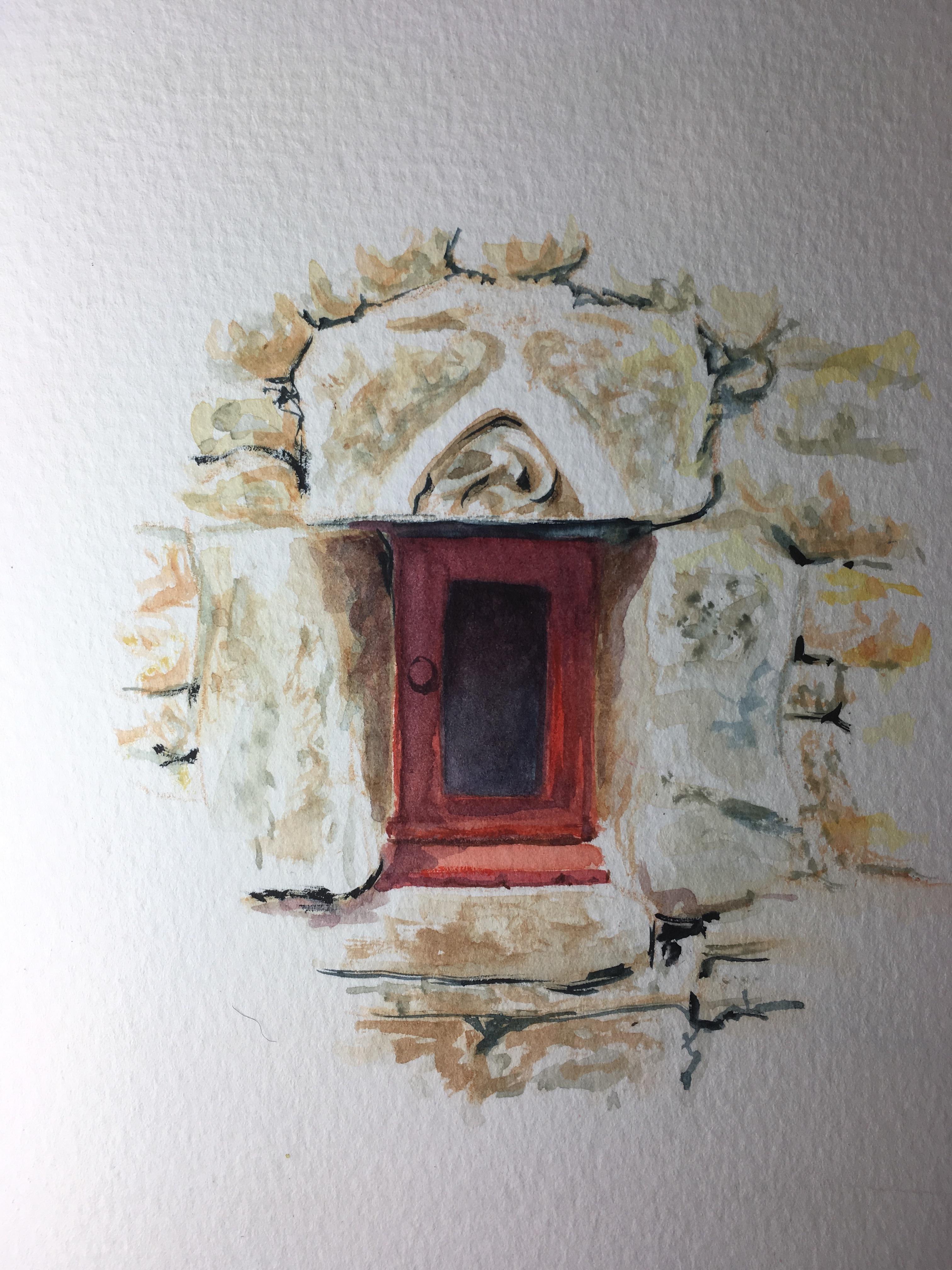 Peinture aquarelle sur tableaux par noga eliezer artiste for Fenetre rouge