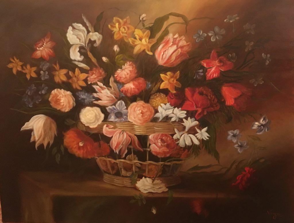 noga_eliezer_peinture_a_l_huile_Panier de fleurs