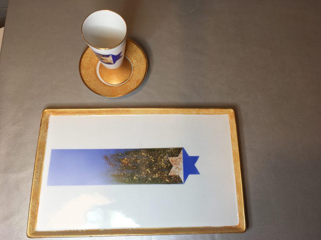 Plateau et verre de Kiddouche-Étoile filante
